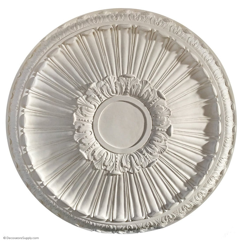 "Plaster Medallion-Classic-35"" Dia X 3 3/8"" Rel - 7"" Center-ceiling-ornament-Decorators Supply"