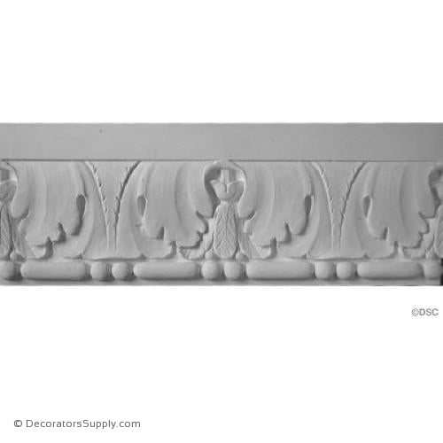"Plaster Frieze Molding Acanthus Bead and Reel  9 1/4"" W x 1 1/4"" R"