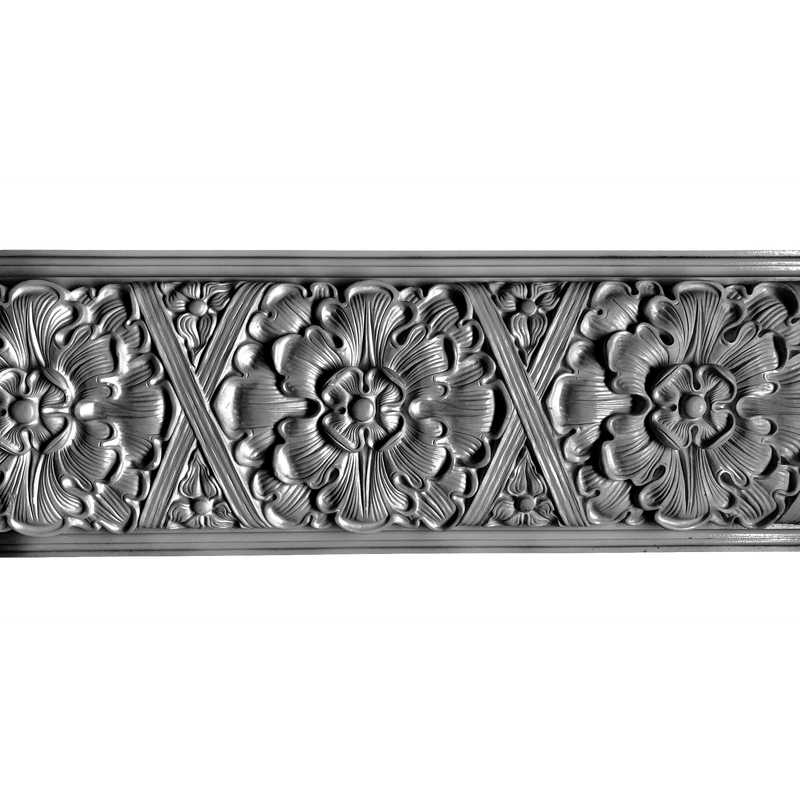 "Plaster Frieze Rosette & Crossband 2-1/2"" P x 12-1/8"" Drop"