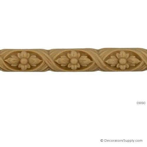 "Running Rope and Flower -  3/8 High 3/16"" Relief-moulding-for-furniture-woodwork-Decorators Supply"