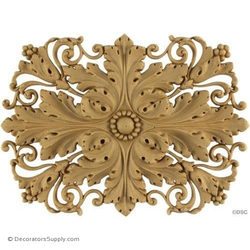 Rosette - Rectangular-Ital. Ren. 7H X 4 1/2W - 1/4Relief-ornaments-for-woodwork-furniture-Decorators Supply