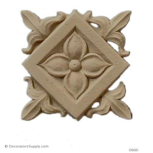Rosette - Square-Classic 1 7/8H X 1 7/8W - 1/8Relief-ornaments-for-woodwork-furniture-Decorators Supply