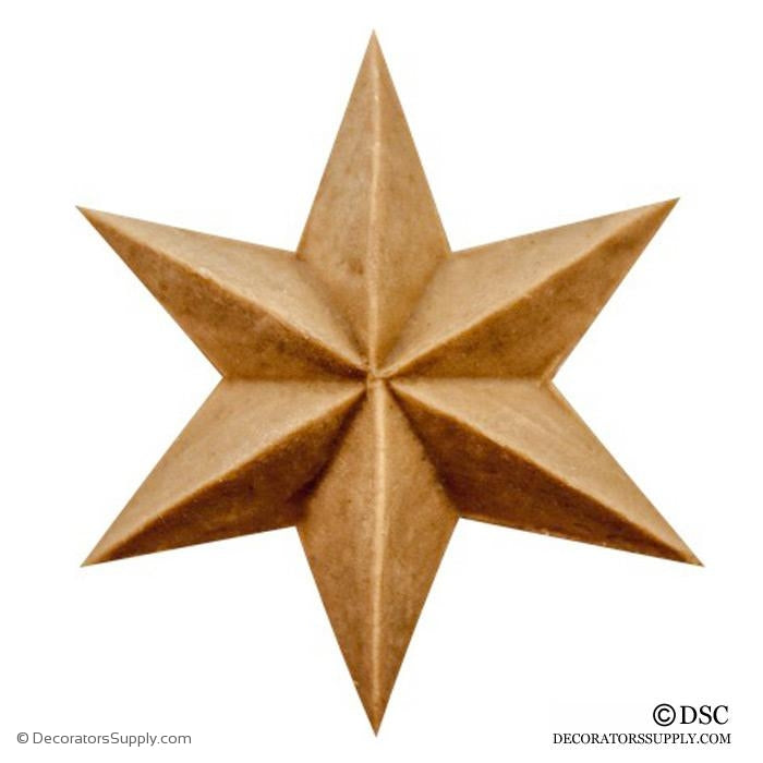 Rosette Star Classic - 1 5/8Diameter - 3/16Relief-ornaments-woodwork-furniture-Decorators Supply