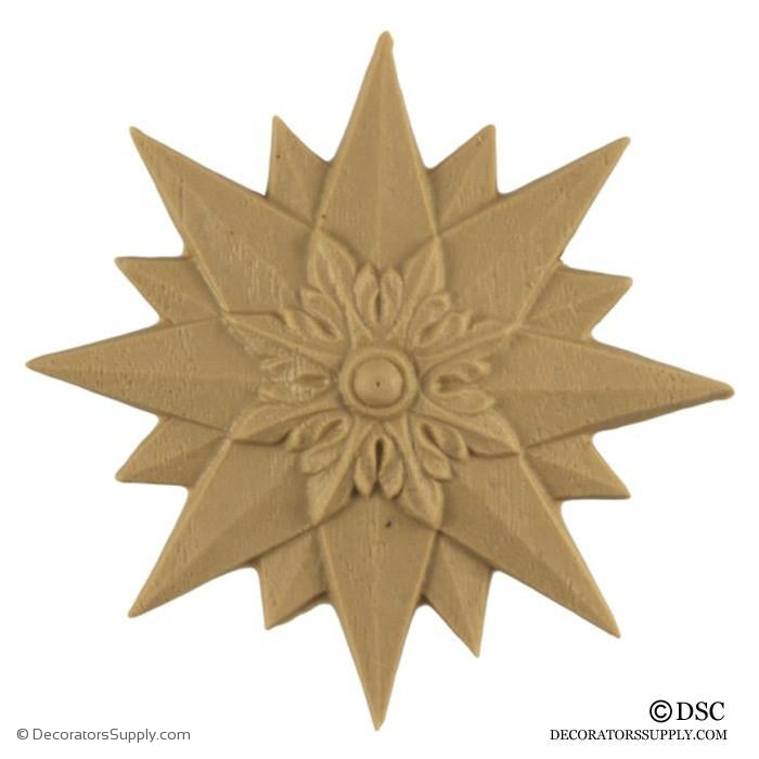 Rosette - Starburst - Empire - 2 3/4Diameter - 3/8Relief-ornaments-woodwork-furniture-Decorators Supply