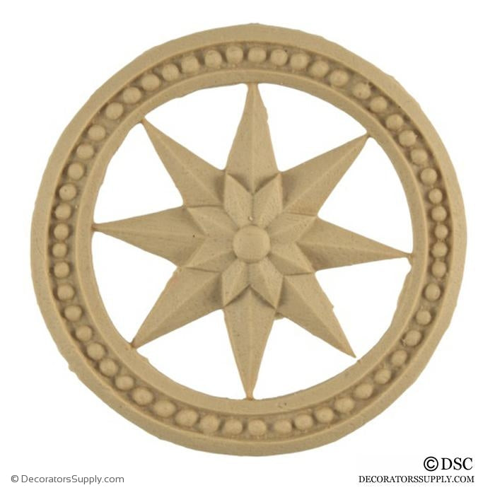 Star Rosette - Circle-Colonial - 2 7/8Diameter - 1/4Relief-ornaments-woodwork-furniture-Decorators Supply