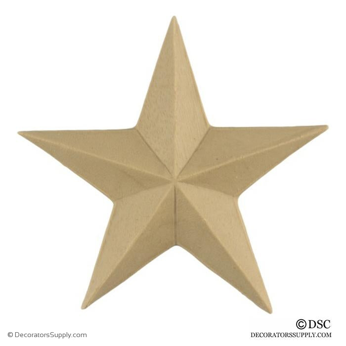 Star - Classic - 3 1/8 Wide - 1/4 Relief-ornaments-woodwork-furniture-Decorators Supply