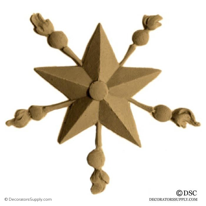 Star with Bursts - Empire - 3 1/2Diameter - 5/16Relief-ornaments-woodwork-furniture-Decorators Supply