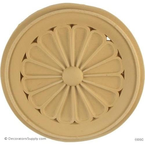 Rosette - Circle-Colonial - 6 1/2Diameter - 3/8Relief-woodwork-furniture-ornaments-Decorators Supply