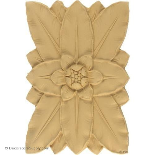 Flower Rosette - Rectangular- 7 1/4H X 5W - 5/16 Relief-ornaments-for-woodwork-furniture-Decorators Supply
