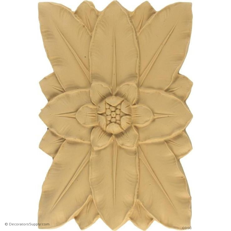 Flower Rosette - Rectangular 5 1/4H X 3W - 1/4Relief-ornaments-for-woodwork-furniture-Decorators Supply