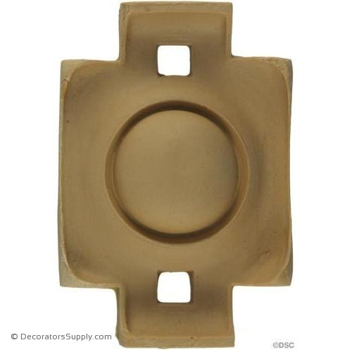 Rosette - Rectangular-Heraldic 4H X 2 1/2W - 1/2Relief-ornaments-for-woodwork-furniture-Decorators Supply