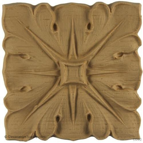 Rosette - Square-Roman 3 1/2H X 3 1/2W - 3/8Relief-ornaments-for-woodwork-furniture-Decorators Supply