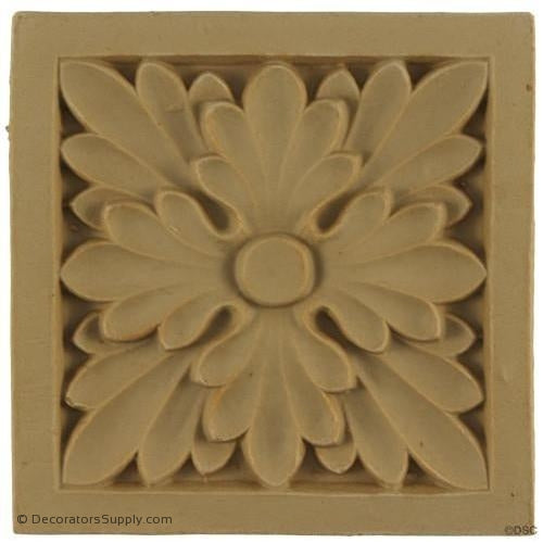 Rosette - Square-Romanesque 3 3/4H X 3 3/4W - 3/8Relief-ornaments-for-woodwork-furniture-Decorators Supply