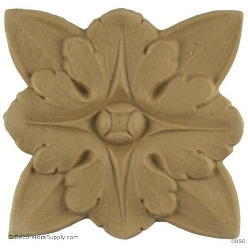 Rosette - Square-French - 2 1/8Diameter - 3/16Relief-ornaments-for-woodwork-furniture-Decorators Supply