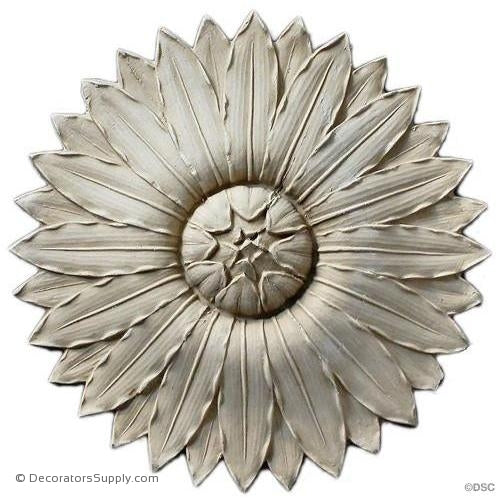Rosette - Sunflower -Adams - 7Diameter - 11/16Relief-woodwork-furniture-ornaments-Decorators Supply
