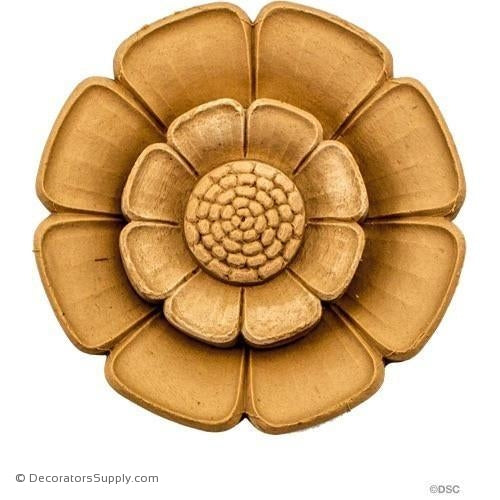 Rosette - Circle-Classic - 5 1/8Diameter - 11/16Relief-woodwork-furniture-ornaments-Decorators Supply