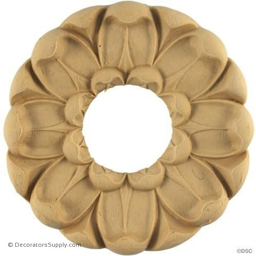 Rosette - Circle-Etruscan - 4 3/8Diameter - 7/16Relief-woodwork-furniture-ornaments-Decorators Supply