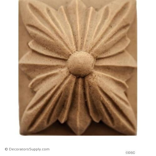 Rosette - Rectangular-Ren. 1 7/16H X 1 1/4W - 1/2Relief-ornaments-for-woodwork-furniture-Decorators Supply