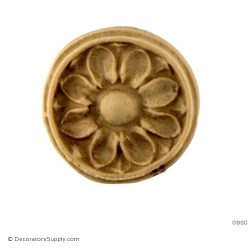 Rosette - Circle-Adams - 15/16Diameter - 1/8Relief-woodwork-furniture-ornaments-Decorators Supply