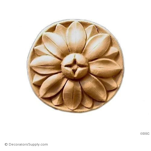 Rosette -Daisy - Circle-Adams - 1 7/8Diameter - 1/4Relief-woodwork-furniture-ornaments-Decorators Supply