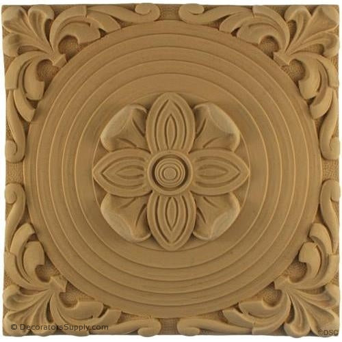 Rosette - Square-Roman 8 1/2H X 8 1/2W - 7/16Relief-ornaments-for-woodwork-furniture-Decorators Supply