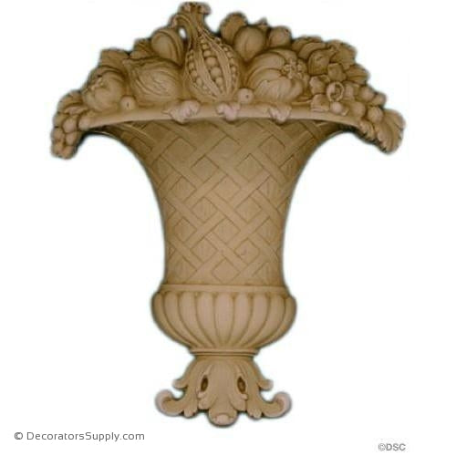 Fruit Basket - 7 3/4 High x 6 1/2 Wide-ornaments-for-furniture-woodwork-Decorators Supply