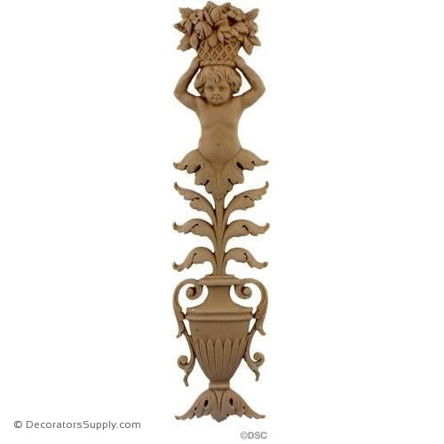 Cherub and Urn 14 3/8 High 3 3/8 Wide-ornaments-for-furniture-woodwork-Decorators Supply