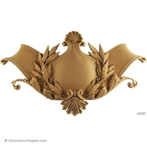 Shield-Louis XVI 9 5/8H X 16 1/4W - 3/4Relief-furniture-woodwork-ornaments-Decorators Supply