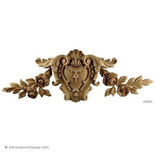 Shield-Louis XIV 8 1/4H X 25W - 13/16Relief-furniture-woodwork-ornaments-Decorators Supply