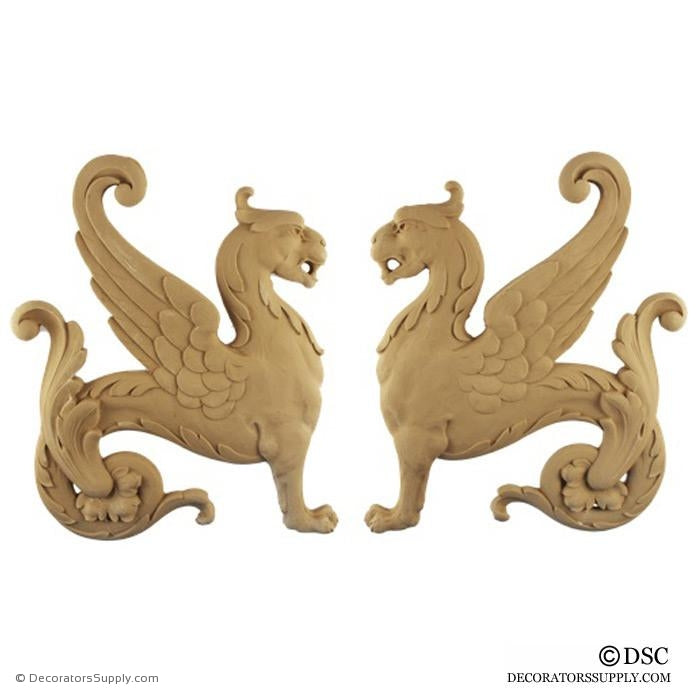 Decorative Griffin Applique for Wood 14H X 11 3/8W - 5/8Relief - Decorators Supply