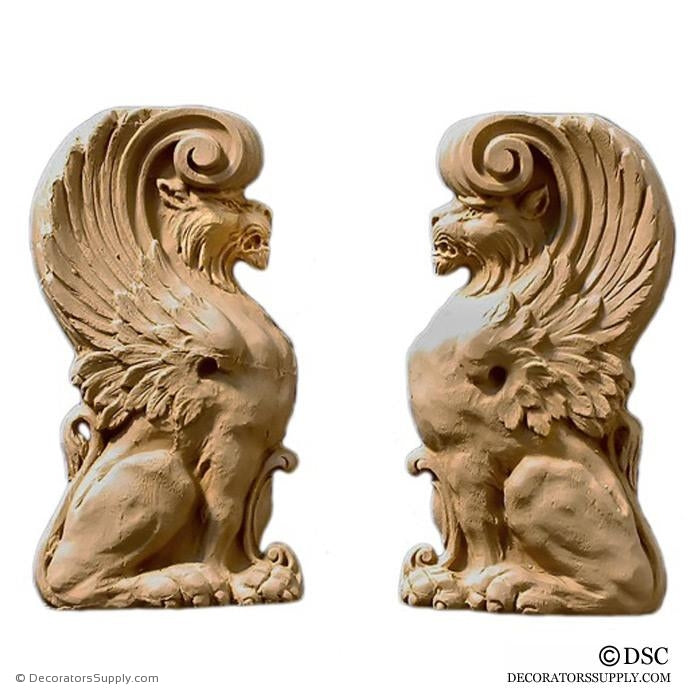 Decorative Griffin Applique for Wood 6H X 3 1/4W - 5/8Relief - Decorators Supply