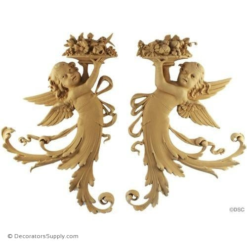 Cherub-Italian Pr. 13 1/2H X 9W - 5/8Relief-historic-carving-library-victorian-styles-Decorators Supply