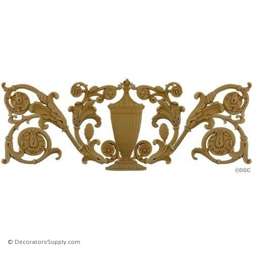 Urn and Scroll Design - 16 1/2H X 43W - 5/8Relief-ornaments-for-furniture-woodwork-Decorators Supply