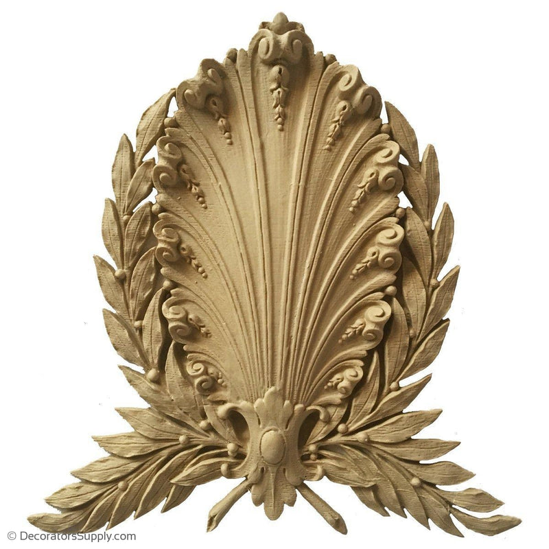 Shell-Louis XVI 8 1/2H X 8W - 9/16Relief-woodwork-onlay-Decorators Supply