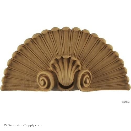 Shell-Roman 4 7/8H X 9 5/8W - 1 3/8Relief-ornaments-for-woodwork-furniture-Decorators Supply