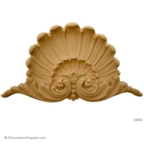 Shell-Louis XVI 4 1/8H X 8W - 3/4Relief-ornaments-for-woodwork-furniture-Decorators Supply