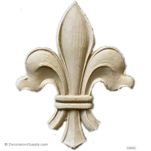 Fleur de Lis-Louis XV 5 1/2H X 3 5/8W - 3/8Relief - Decorators Supply
