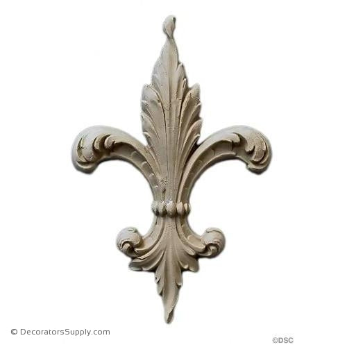 Fleur de Lis-Ren. 6 3/8H X 4 1/2W - 3/8Relief - Decorators Supply