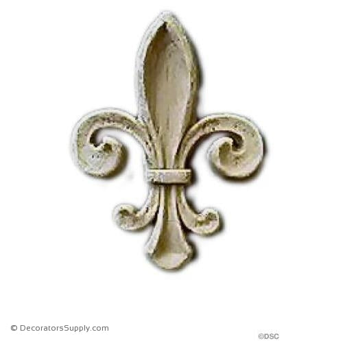 Fleur de Lis-Ren. 1 1/8H X 3/4W - 1/8Relief - Decorators Supply