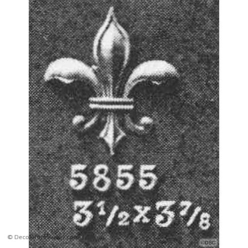 Fleur de Lis-Ren. 3 7/8H X 3 1/2W - 1/4Relief - Decorators Supply