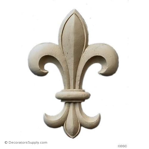Fleur de Lis-Ren. 5 1/4H X 3 3/4W - 5/16Relief - Decorators Supply