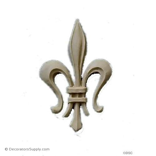 Fleur de Lis-Gothic 2 1/8H X 1 1/4W - 1/8Relief - Decorators Supply