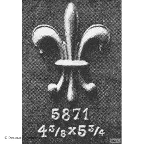 Fleur de Lis-Gothic 5 3/4H X 4 3/8W - 3/8Relief - Decorators Supply