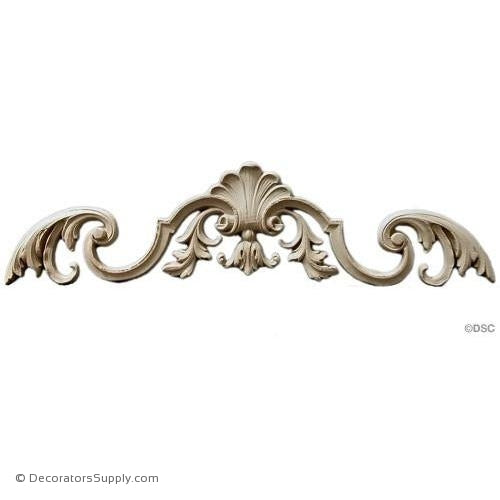 Shell with Scroll and Leaf Accents 5 High 18 Wide-ornaments-for-woodwork-furniture-Decorators Supply