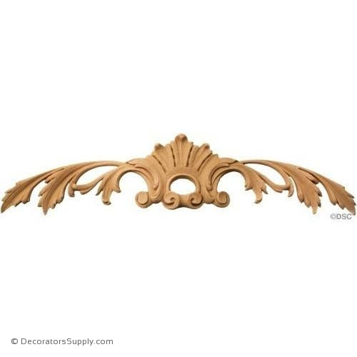 Cartouche with Leaves 3 1/4 High 12 3/4 Wide-appliques-for-woodwork-furniture-Decorators Supply