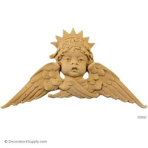 Cherub - 4 3/4H X 8W - 3/8Relief-historic-carving-library-victorian-styles-Decorators Supply