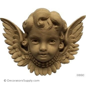 Cherub - 3 1/8H X 4 1/4W - 1 1/4Relief-historic-carving-library-victorian-styles-Decorators Supply