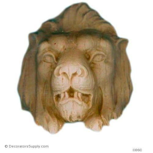 Lion Head - 3 1/4H X 2 1/2W - 2 3/8Relief-Decorators Supply