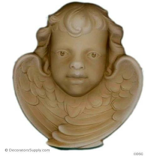 Cherub - 6 3/8H X 5 7/8W - 1 3/8Relief-historic-carving-library-victorian-styles-Decorators Supply