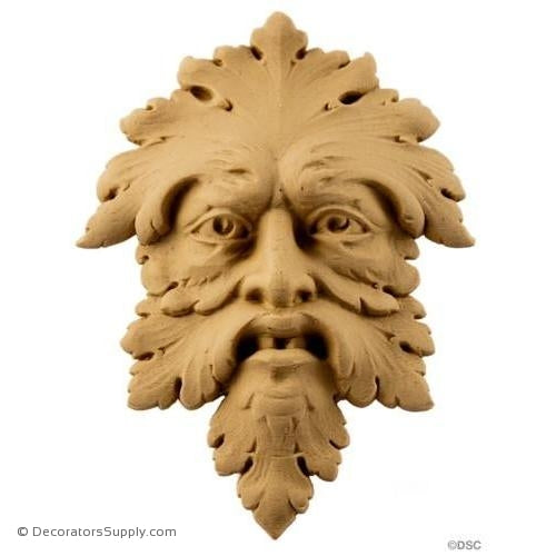 Green Man - Face - 5 5/8H X 4W - 1Relief-historic-carving-library-victorian-styles-Decorators Supply